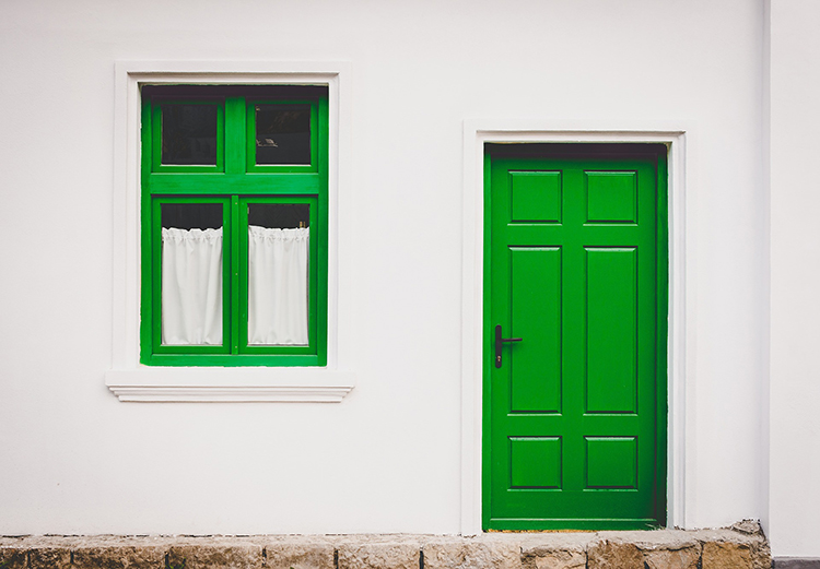 Green front door - illustrating accessibility