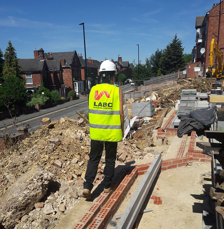 Rachel Casey out on a site visit - building control career
