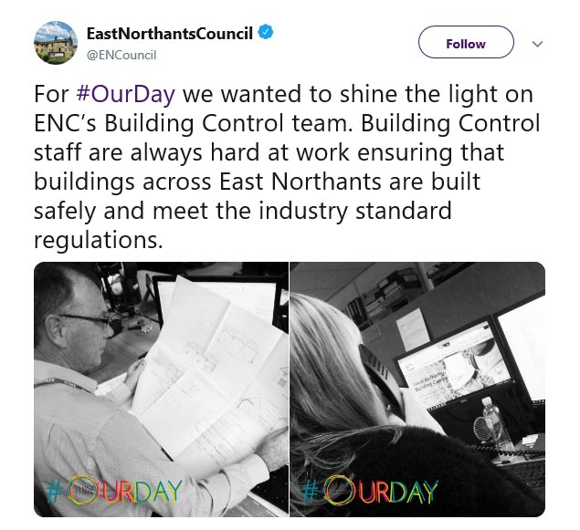East Northamptonshire Council #OurDay Twitter campaign 2019