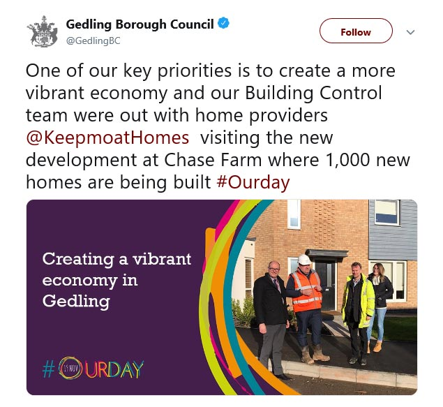Gedling Borough Council #OurDay Twitter campaign 2019